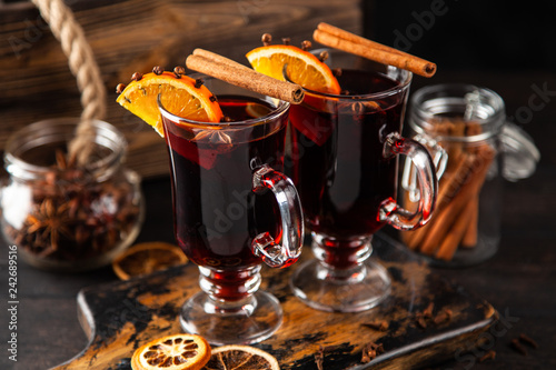 Fototapeta Mulled wine with spice and orange