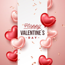 Valentines Day Banner With Heart Shaped Balloons. Holiday Vector Illustration Banner