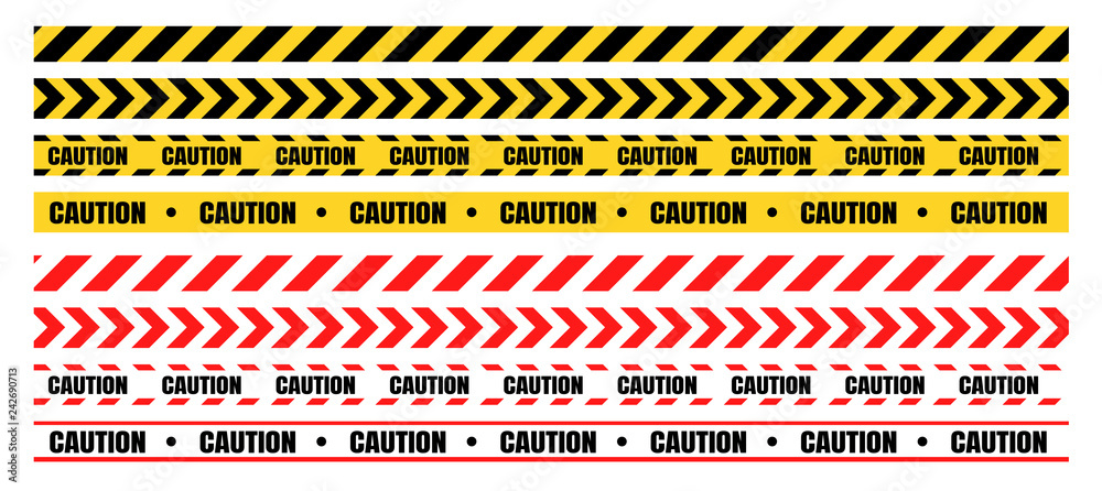 Fototapety, obrazy: Hazardous warning tape sets must be careful for construction and crime.