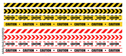 Obraz na plátne Hazardous warning tape sets must be careful for construction and crime