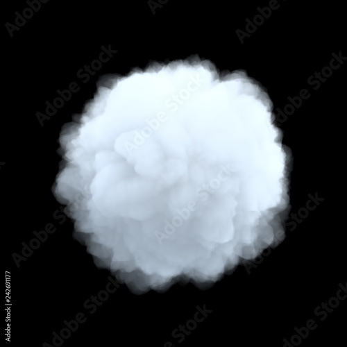 3d rendering of a white bulky cumulus cloud in shape of circle on a black background. - fototapety na wymiar