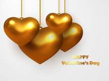3d Metallic Golden Hearts Hanging On White Background. Decorative Love Concept For Valentines Day Or Wedding. Vector Illustration.