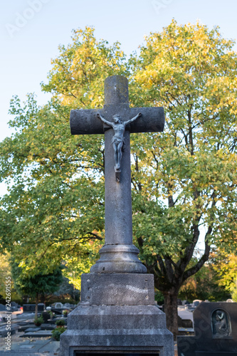 Fotografie, Obraz  Weathered stone crucifix