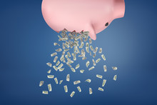 3d Rendering Of A Piggy Bank Upside Down With Dollar Bills Falling Out On A Blue Background.