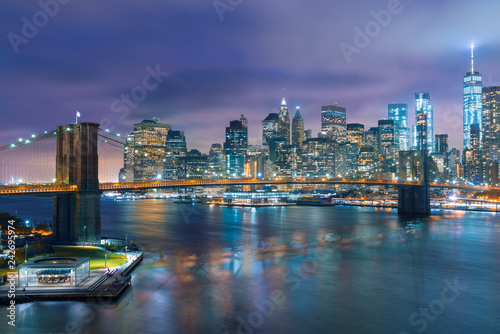 a magnificent view of the lower Manhattan and Brooklyn Bridge, New York