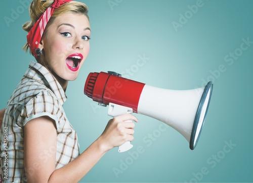 Fototapeta premium Megafon za pomocą reklamy głosowej