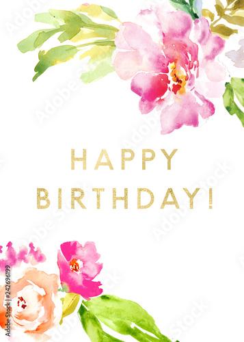 Cute Watercolor Flowers Birthday Card Background Happy Birthday