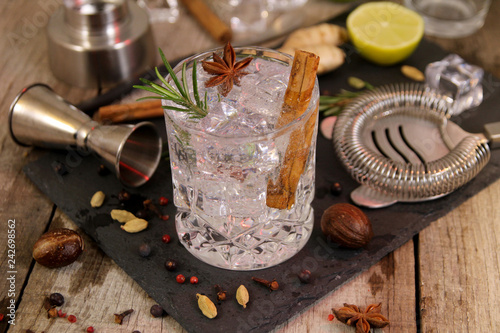 Fototapeta Gin and tonic cocktails with rosemary star anise and cinnamon, botanicals to decorate the cocktail and barman's tools obraz