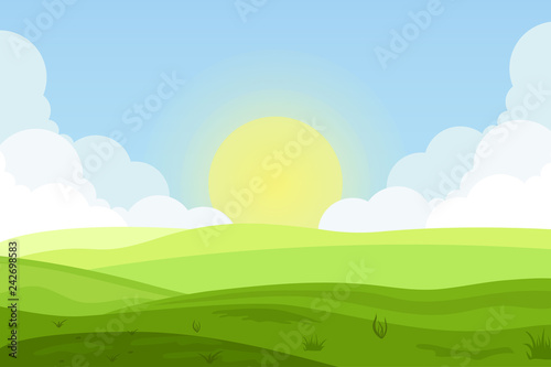 Poster Pool Vector illustration of fields landscape with a green hills, blue sky, and forest in flat style. Rural landscape. Vector illustration.