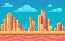 Pixel Art Desert At Day. Seamless Background.