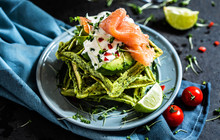 Spinach Waffles With Avocado And Smoked Salmon