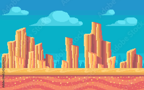 Fotografia Pixel art desert at day. Seamless background.