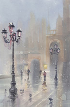 Venice In Snow Watercolor Landscape. Morning Mist With Lamps And Pigeons