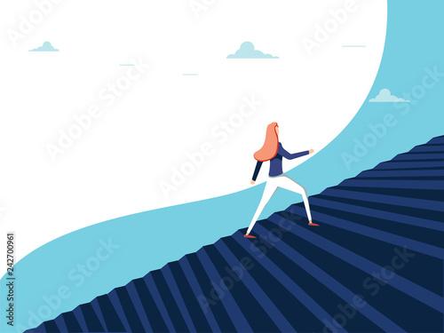 Fotografía  Buisnesswoman climbing career steps vector concept