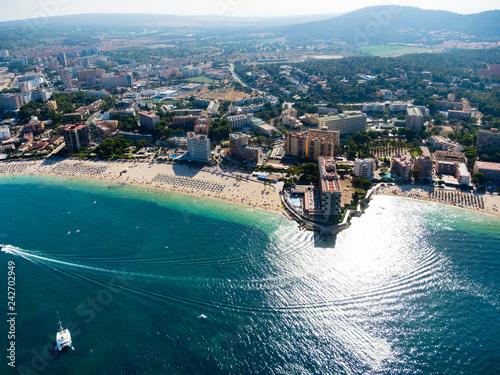 Plakat Widok z lotu ptaka, lot nad zatoką Palma Nova, Majorka, Baleary, Hiszpania