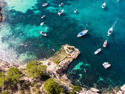 Plakat Widok z lotu ptaka, widok nad Pięć palców zatoką portale Vells, Mallorca, Balearic wyspy, Hiszpania