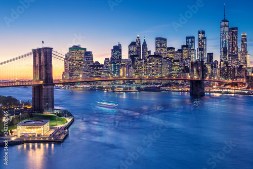 a magnificent view of the lower Manhattan and Brooklyn Bridge
