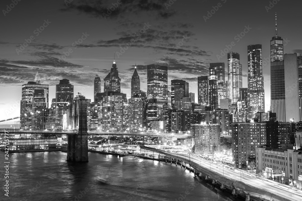 amazing sunset , manhattan financial district from manhattan bridge, New York City