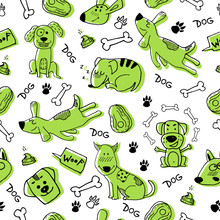 Hand Doodle With Funny Green Dogs, Paw Prints And Bones. Vector Seamless Pattern Wallpaper, Background. Cute Surface Design For Fabric, Textile Design, Wrapping Paper