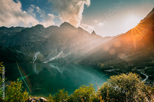 Keuken foto achterwand Groen blauw Tatra National Park, Poland. Famous Mountains Lake Morskie Oko O