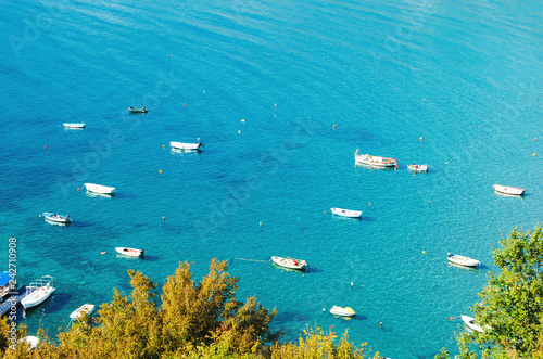 Spoed Foto op Canvas Oceanië Clear and bright blue Adriatic sea with many boats.The view from the top, the drone quadcopter.