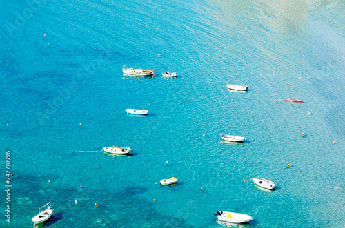 Staande foto Oceanië Clear and bright blue Adriatic sea with many boats.The view from the top, the drone quadcopter.