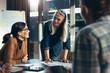 Leinwandbild Motiv Businesswoman planning new strategy in meeting