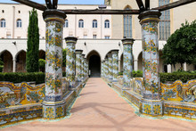 Cloister Garden Of The Santa Chiara Monastery In Naples, Italy