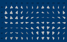 Animation Of The Rotation Of A Paper Airplane. Big Set Of Paper Planes.