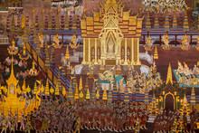 Bangkok The Capital Of Thailand. February 16. 2016. The Royal Palace In Bangkok. Thai Style Buddhist Mural Painting At The Royal Grand Palace. Thailand. Asia