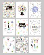 Set Of Easter Spring Gift Cards And Posters With Cute Colourful Graphics. Happy Easter Templates With Eggs, Flowers, Floral Frames And Wreaths, Bunny And Typographic Design. Vector Illustration