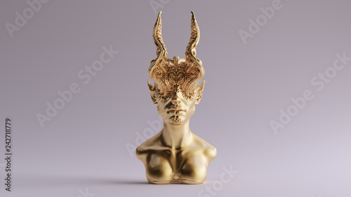 Carta da parati Gold Antique Horned Demon Queen Statue Bust 3d illustration 3d render