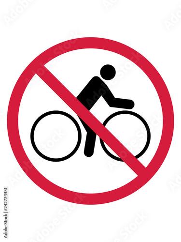 Fotografía  verboten schild zone hinweis warnung vorsicht keine fahrrad fahrer fahren biker