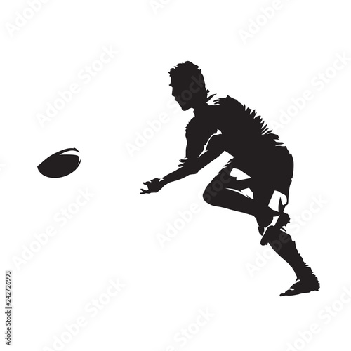 Fotografie, Obraz  Rugby player passing ball, isolated vector silhouette, side view