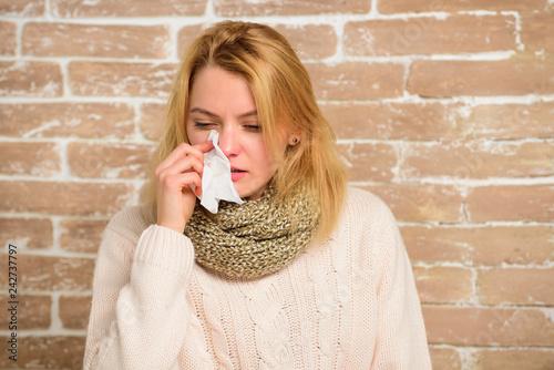 Fotografia, Obraz  Girl in scarf hold tissue or napkin suffer headache