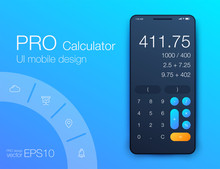 Smartphone With Calculator App, Vector Realistic Illustration
