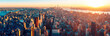 Leinwandbild Motiv Amazing aerial panoramic view of Manhattan wit sunset