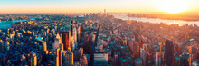 Amazing Aerial Panoramic View Of Manhattan With Sunset