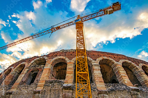 Foto  reconstruction of historical sites, Arena Verona, Italy