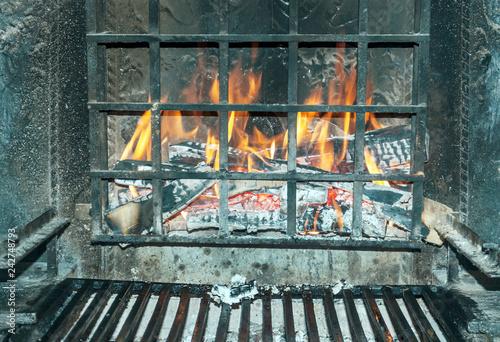 Obraz na płótnie Burning fireplace burning