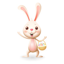 Cute Little Bunny With Decorated Eggs In Knitted Basket Celebrate Easter - Isolated On White Background