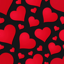 Red Hearts On Black Background Valentine's Day Seamless Pattern