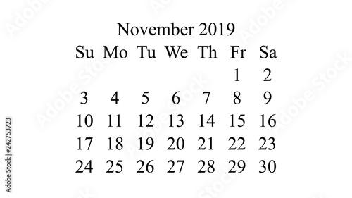 November 2019 Calendar 2019 Vector Simple Design Minimal
