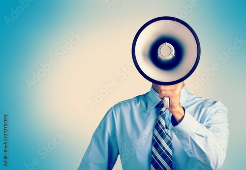 Man hand holding megaphone