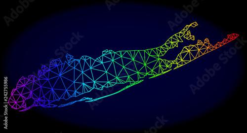 Fényképezés  Rainbow colored mesh vector map of Long Island isolated on a dark blue background