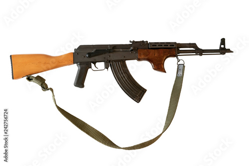 AK-47 with sling on white background Canvas Print