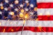 canvas print picture - Fourth of july sparkler pyrotechnics july patriotism flag
