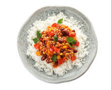 Plate Of Rice With Chili Con C...