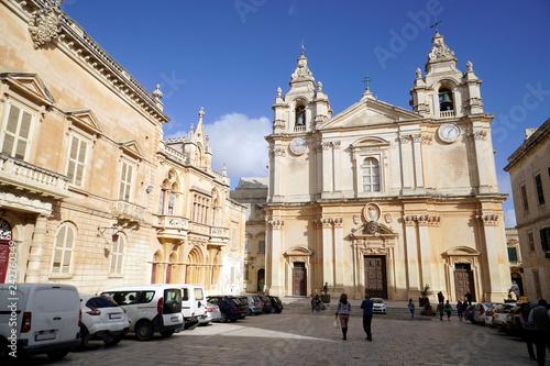 Foto  historische Altstadt von Mdina - St. Peter und Paul Kathedrale
