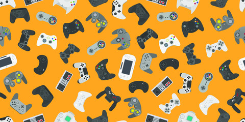Video game controller gamepad background Gadgets seamless pattern